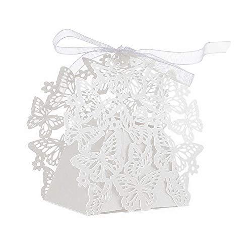JZK 50 Perlato bianco farfalla scatolina portaconfetti scatola bomboniera segnaposto per matrimonio compleanno battesimo comunione nascita Natale