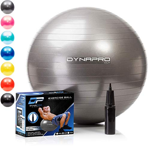 DYNAPRO Exercise Ball - 2,000 lbs Stability Ball - Professional Grade – Anti Burst Exercise Equipment for Home, Balance, Gym, Core Strength, Yoga, Fitness, Desk Chairs (Silver, 65 Centimeters)