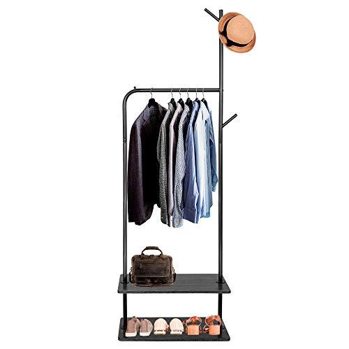 SPRINGOS Portant à vêtements 2 étagères en métal style arbre design scandinave étagère à chaussures couloir entrée gain de place