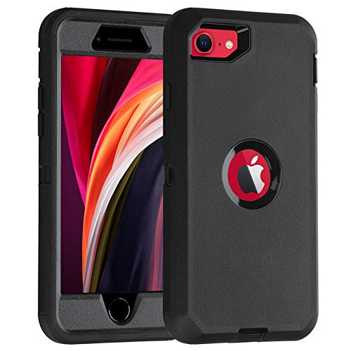 Co-Goldguard Case for iPhone SE 2020 Heavy Duty Cover 3 in 1 Built-in Screen Protector Durable Cover Dust-Proof Shockproof Drop-Proof Shell for iPhone SE 2nd 4.7'(Black)