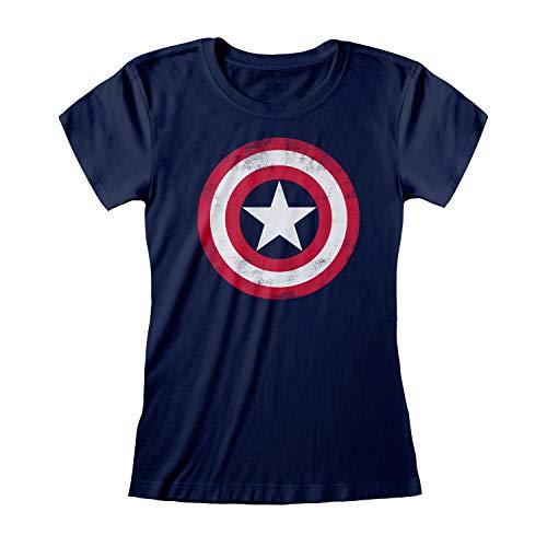 Marvel Avengers Assemble Capitán América Apenada Escudo de Las Mujeres Camiseta Cabida Armada S