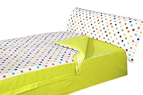 Montse Interiors S.L. - Saco Nórdico Estampado Estrellas de Colores, Modelo Happy, para Cama de 90x190/200
