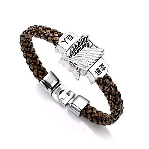 Pulsera Brazalete, Joyeria Regalo, Anime Attack On Titan Charm Bracelet Shingeki No Kyojin Cosplay Unisex Leather Bracelets Wristband Bangles Wristlet