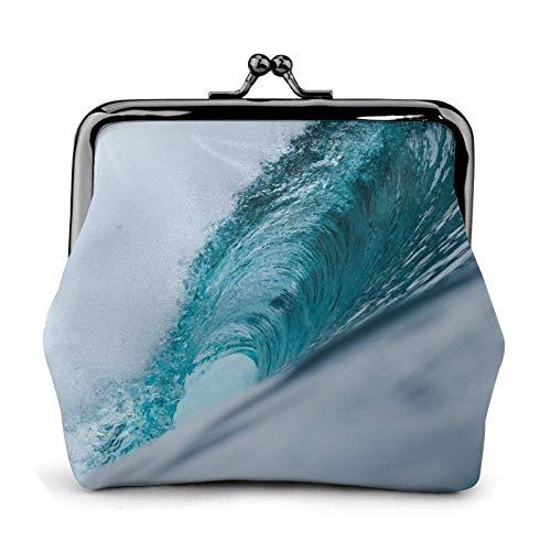 FENGJUAN Océano verde onda surf impreso hebilla monedero pequeño bloqueo cambio bolsa viaje maquillaje ts para hombres mujeres