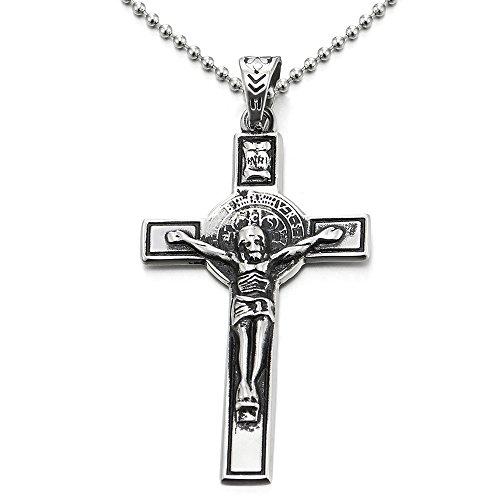 COOLSTEELANDBEYOND Vintage Crucifijo Cruz, Collar con Colgante de Hombre, Cruce, Acero, Biker,...