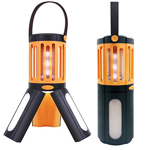 Bug Zapper Electric Camping Lantern 2 in 1,LED Camping Mosquito Killer Lamp,Tripod Tent Light Portable Compact Camping Gear UV Insect Trap Lamp for Indoor Outdoor (IP67 Waterproof)