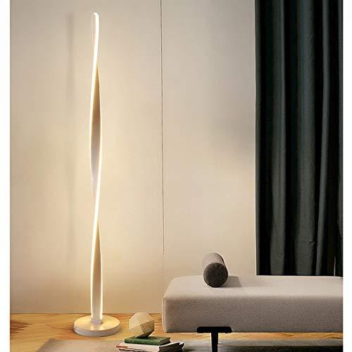 YXB Lampa stojąca LED lampa stojąca czarna biała lampa stojąca narożna lampa stojąca do salonu sypialni mieszkania (kolor korpusu: ciepła biel, klosz lampy kolor: jeden styl biały korpus)