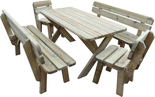 Platan Room Gartengarnitur Holz Kiefer Sitzgruppe 120 cm breit Gartenbank Gartentisch massiv Imprägniert (Set 2 (Tisch + 2 Bänke + 2 Stühle), 120 cm)