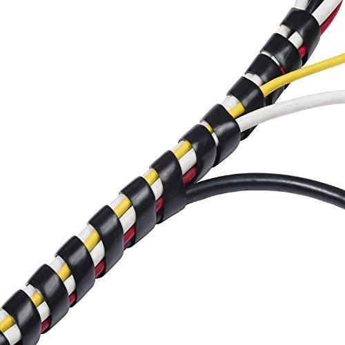 D-Line CTW2.5B Kabelspirale in Schwarz | Kabel-Spiralschlauch für hochwertiges Kabelmanagement | Länge 2,5 m | Spiral-Kabelschlauch dehnbar für 10–40 mm breite Kabelbündel - Schwarz