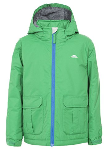 Trespass Flemington, Clover, 11/12, Warm Padded Waterproof Jacket with removable Hood for Kids / Boys, Age 11-12, Green