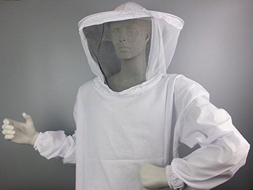 basicbee Veste de protection Cycle de voile de protection fin, coton, schtich, abeilles, BEDARF apicoles apiformes L Weiß