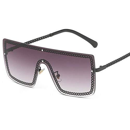 HONGYAN Große Sonnenbrillen Kettenförmiger Rahmen Luxusbrillen Männer Mode ÜbergroßeSonnenbrillen Frauen Flach