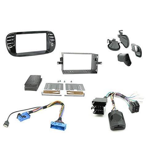 Kit Installation Autoradio KITFAC-ZFT2 compatible avec Fiat 500 - Noir brillant