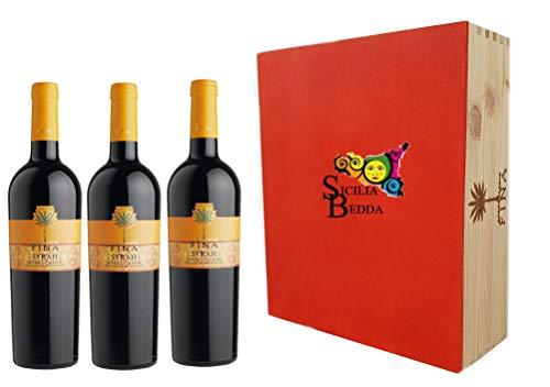 Sicilia Bedda -Syrah Terre Siciliane IGT - Cantine Fina - Vari Formati con Cofanetti Esclusivi (Box 3 Bottiglie Cofanetto in Legno)
