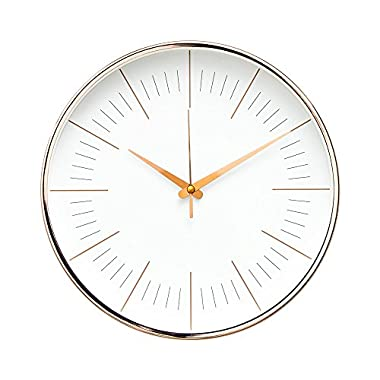 "Arospa Luxury Modern 12"" Silent Non-Ticking Wall Clock with Rose Gold Frame (Contemporary White)"