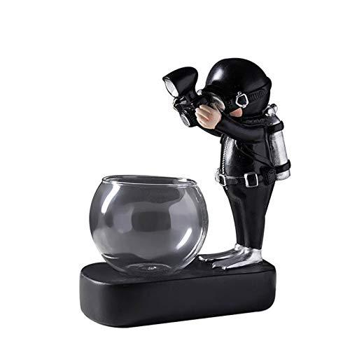 JOOBEE Estatua de astronauta con luz para sala de estar, estatua de astronauta para niños, decoración de dormitorio, arreglo de flores, cristal transparente con astronauta regalo creativo