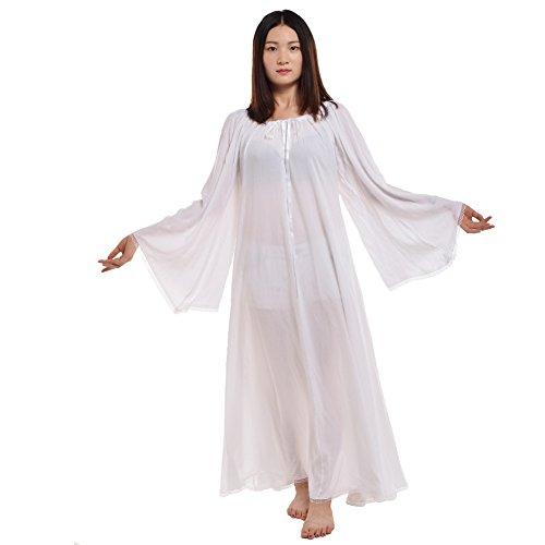 BLESSUME Damen Mittelalterlich Renaissance Kleid Kleid (Weiß, L)