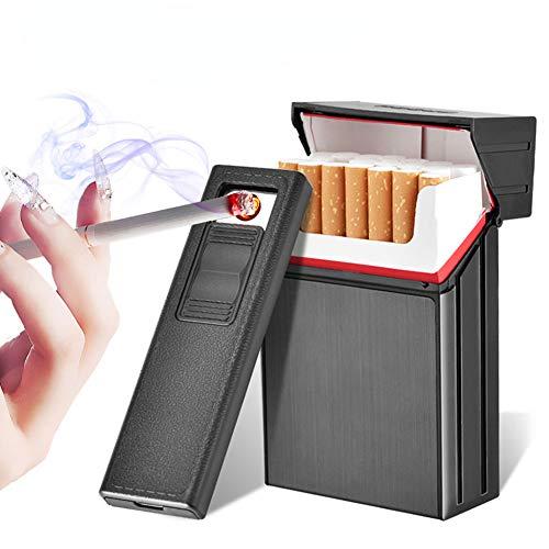 PORIN Zigarettenetui Mit Elektrischem Feuerzeug USB-trennbar Wiederaufladbar Für Zigaretten Im Gesamtpaket 20 Stück King Size, Geeignet Für Picknick Im Freien