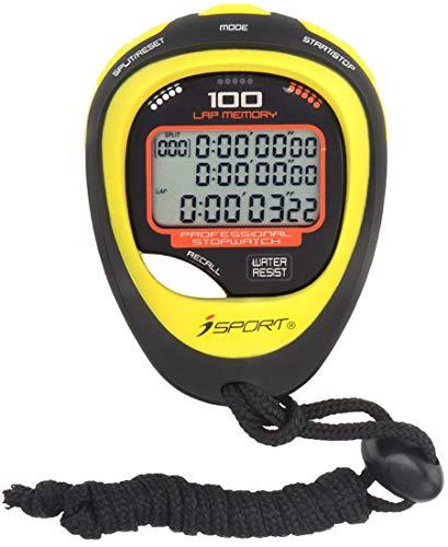 Cronómetro profesional digital cronómetro de tres filas pantalla atletismo Racing cronómetros con 100 vueltas memoria tiempo dividido para entrenadores deportivos y árbitros
