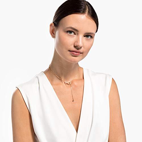 Swarovski Collana a Y Infinity, Bianco, Placcato Oro Rosa