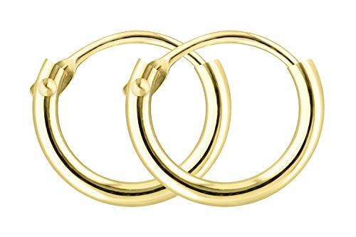 Creolen Gold Klein 9 mm 585 aus Gelbgold, Damen Goldohrringe Echt Gold mit Stempel, Breite 1,3 mm, Gewicht ca. 0.2 g, Made in Germany