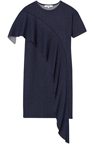 Marca Amazon - find. Vestido de Raya Ejcutiva con Volante para Mujer, Azul (Navy), 46, Label: XXL