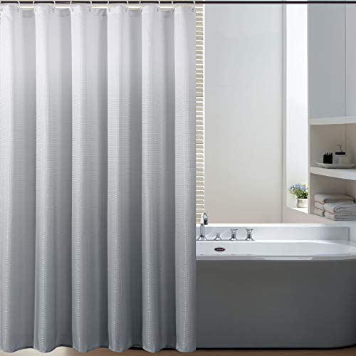 BERMINO Textured Fabric Shower Curtain Waterproof Ombre Shower Curtains for Bathroom with 12 Hooks