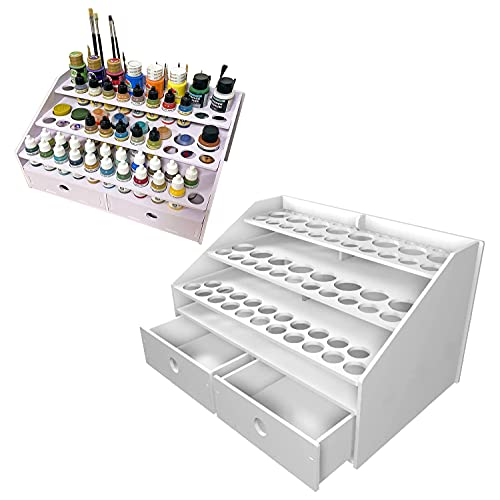 Sanfurney Paint Rack Stand Pigment Ink Bottle Paints Tool Storage with Cabinet Holder Organizer for 59 Bottles of Paints