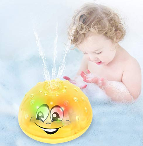 Sopu Spray Water Baby Bath Toy, Waterproof Light-up Induction Sprinkler Toys Kids Bathtime Fun Toys with Colorful Lights & Automatic Spray Water Function Bathtub Toy for Toddlers Infant (Yellow)