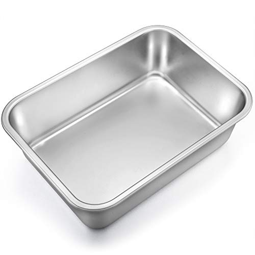 TeamFar Lasagna Pan, Rectangular Cake Pan Brownie Bake Dish Stainless Steel, 13''×10''×3.25'', Heavy Duty & Healthy, Deep Side & Brushed Surface, Easy Clean & Dishwasher safe