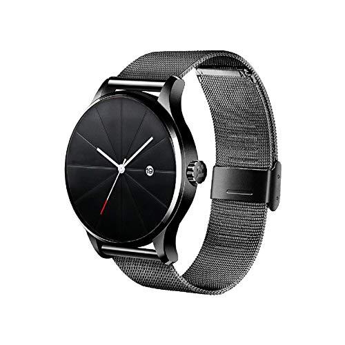 Hanylish Reloj de Pulsera para Hombre, Análogo, Elegante, Formal, Minimalista, Moderno, Correa Tipo Malla de Acero Inoxidable con Calendario