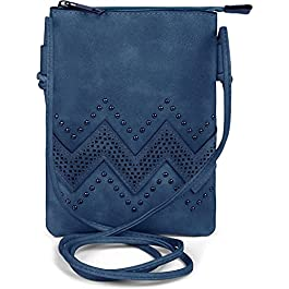 styleBREAKER petit sac à bandoulière avec motifs découpés en forme de zigzag et rivets, sac à bandoulière, sac, femme…