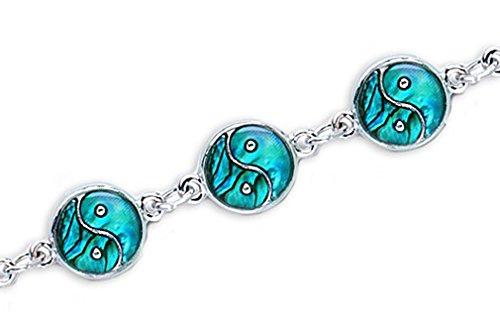 TEMPELWELT Schmuck Armband Yin Yang 18 cm, Paua Muschel Abalone Perlmutt blau grün rosa, Metall Silber Armkettchen, Naturschmuck
