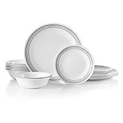 small Corelle 18 pieces for 6 people, shatterproof mystic gray cookware set