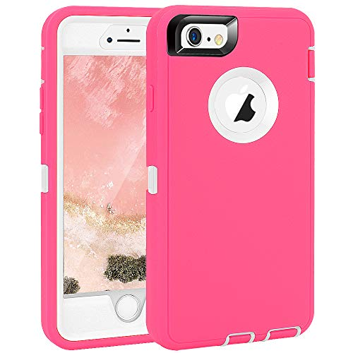 iPhone 6 Plus/6S Plus Case, Maxcury Heavy Duty Shockproof Series Case for iPhone 6 Plus/6S Plus (5.5') with Built-in Screen Protector Compatible with All US Carriers (Rose/White)