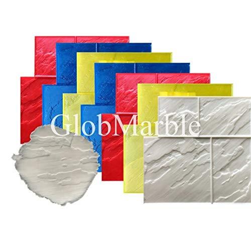 GlobMarble 8 pc Ashlar Concrete Stamp Set Slate Texture Imprint Stamp Mats SM 3004
