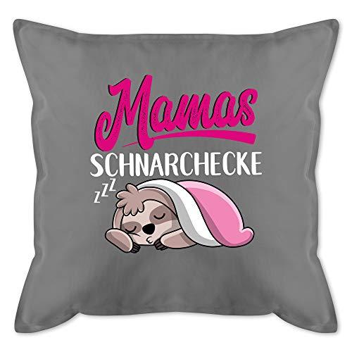 Muttertagsgeschenk Kissen - Mamas Schnarchecke mit Faultier - weiß - Unisize - Grau - Kissen Mama schnarchecke - GURLI Kissen mit Füllung - Kissen 50x50 cm und Dekokissen mit Füllung