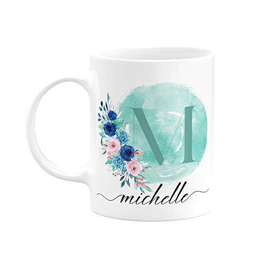 Personalized Mugs for Women with Name and Initial - 11oz Custom Ceramic Cup - 9 Colors - Initial Mug - Mother's Day Gifts, Gift for Grandma - Bridesmaid Mug - Flower Lover Gift Ideas | Mint