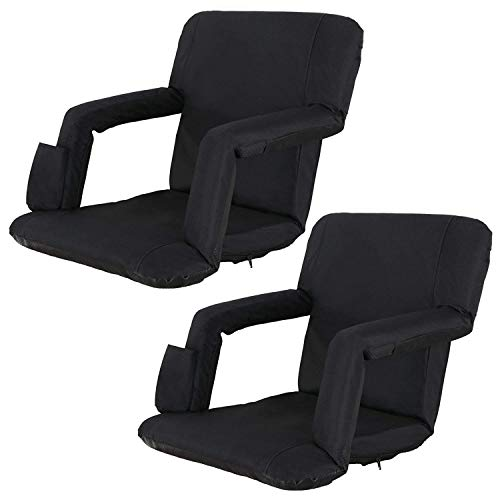Oteymart Set of 2 Portable Stadium Seat for Bleachers and Bench 6-Reclining Adjustable Positions Foldable Stadium Chair Padded Cushion with Armrest Back Support Water Resistant Anti-Slip Base