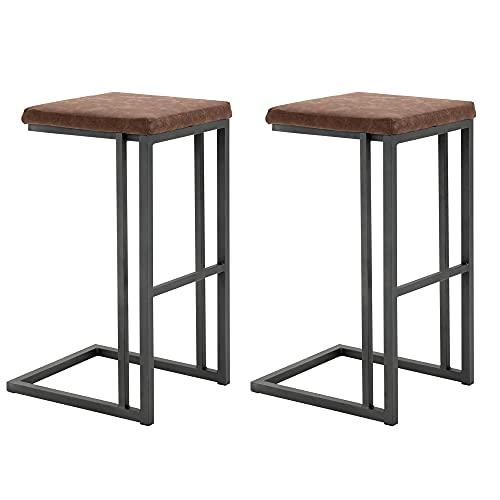 homcom Set 2 Sgabelli da Bar e da Cucina, Sgabelli Imbottiti Design Vintage Stile Industriale, Similpelle e Metallo, Marrone