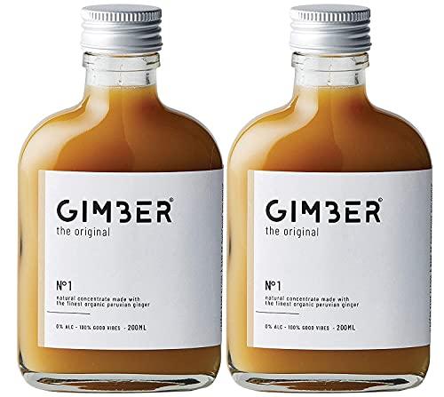 GIMBER Biologisches Ingwerkonzentrat 2×200 ml (400ml) | Alkoholfreies Bio-Getränk aus Ingwer, Zitrone und Kräutern | Premium Ingwer Essenz