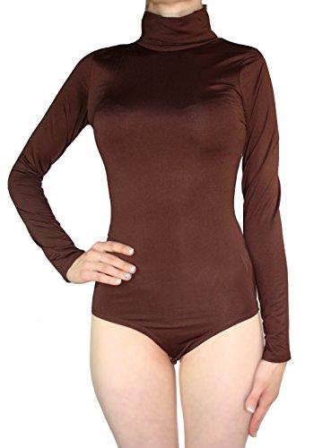 Body Damen Langarm Rollkragen Thermobody elastisch l Bodysuit Top vielen Farben Größe S M L (L/40, Dunkel-braun)