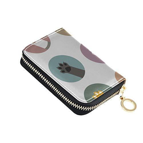 Herren Kartenhalter Brieftaschen Cat Paw Footprint Bein Kreative Kleintier Kreditkarte Brieftasche Fall Leder Leder Reißverschluss Kompakte Größe Mehrere Kartenhalter Brieftasche Für Frauen Damen Mäd