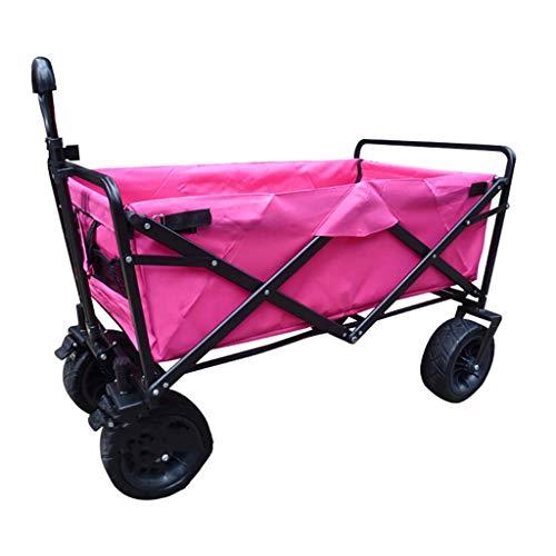 GWXTC Faltbarer Bollerwagen Klappbarer Gartenwagen Schwerlastwagen Multifunktions-Warenkorb zum Draussen Camping LKW ziehen Mit 4 Strandrädern Belastung: 80 kg (Color : Pink)