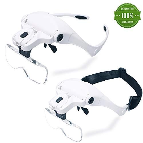 Headband Magnifier LED Illuminated Head Magnifying Glasses 1.0X/1.5X/2.0X/2.5X/3.5X