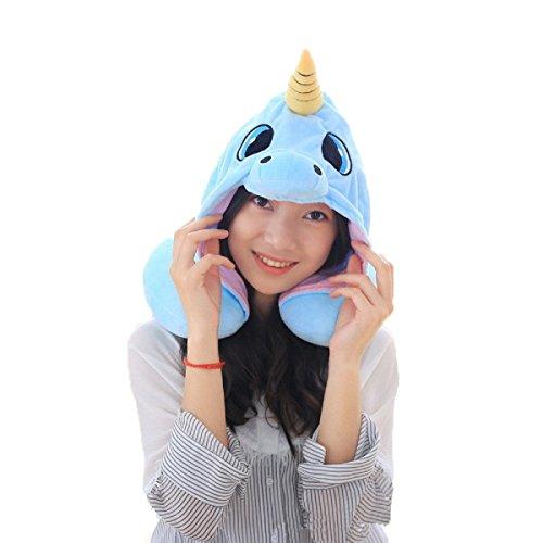 Unicorn U Kissen, Flyfish Reise Nackenkissen Microbead Polyester Nackenkissen Stützkissen Einhorn Hoodie Lustige Geschenke für Kinder Frauen (blau)