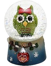 Dekohelden24 - Bola de nieve con divertido búho, original verde