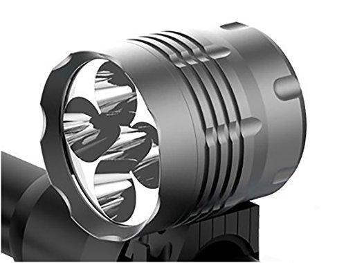 Tobole - Faretto anteriore A LED, per bicicletta / MTB, 8000 LM, 5LED Cree XM-L T6, con batteria ricaricabile