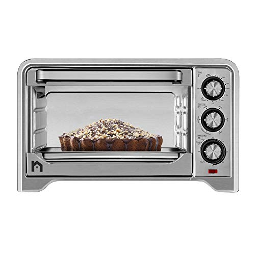New House Kitchen Stainless Steel Toaster Countertop Convection Oven w/ Multiple Temperature Control, X-Large 6 Slice, 6 Cooking Functions Include Bake, Broil, Keep Warm