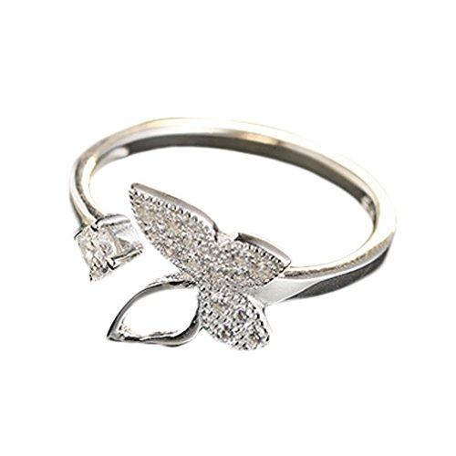 YAZILIND Elegante plata de ley 925 hueco forma de la mariposa redondo Zirconia cúbico ajustable apertura anillo mujeres